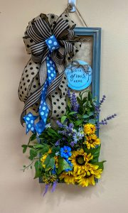 Picture Frame Wreath with Bow and Florals